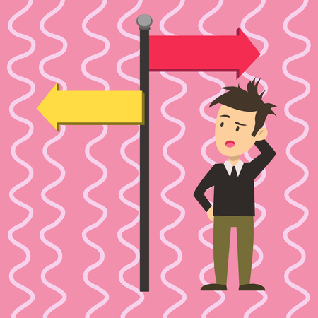 Man Confused with the Road Sign Arrow Pointing to Opposite Side Direction. Design business concept Empty copy space modern abstract background