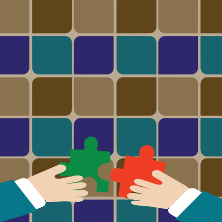 Two Hands Holding Colorful Jigsaw Puzzle Pieces about to Interlock the Tiles Design business concept Empty copy text for Web banners promotional material mock up template.