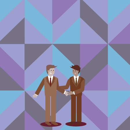 Two Businessmen Standing, Smiling and Greeting each other by Handshaking Copy Space design Empty template text for Ad, promotion, poster, flyer, web banner, article Illustration