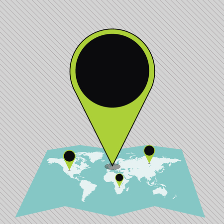 Colorful Huge Location Marker Pin Pointing to an Area or GPS Address on Map Business concept Empty template copy space isolated Posters coupons promotional material Illustration