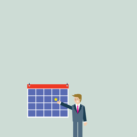 Businessman Smiling and Pointing to Colorful Calendar with Star Hang on Wall Design business Empty copy space text for Ad website promotion isolated Banner template