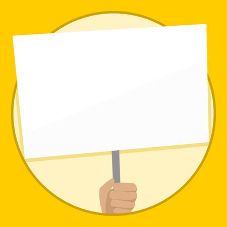 Hand Holding Blank White Placard pris en charge par la poignée pour la conception de la conscience sociale concept d'entreprise Espace copie vide abstrait moderne Vecteurs