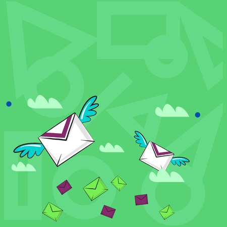 Many Colorful Airmail Flying Letter Envelopes and Two of Them with Wings Design business Empty template isolated Minimalist graphic layout template for advertising Stock Illustratie