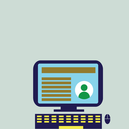 Desktop Computer Mounted on Stand with Online Profile Data on Monitor Screen Design business concept Empty template copy space text for Ad website isolated Illustration