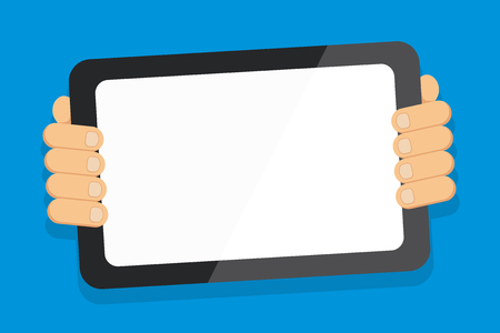 Color Tablet Smartphone with Blank Screen Handheld from the Back of Gadget Design business concept Empty template copy space text for Ad website isolated