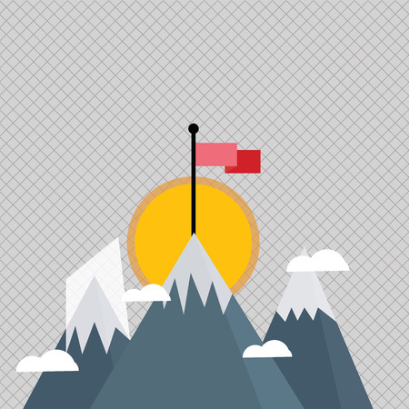 Three High Mountains with Snow and One has Blank Colorful Flag at the Peak Design business concept Empty template copy space text for Ad website isolated.