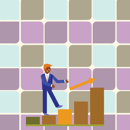 Smiling Businessman Climbing Colorful Bar Chart Following an Arrow Going Up Design business Empty template isolated Minimalist graphic layout template for advertising