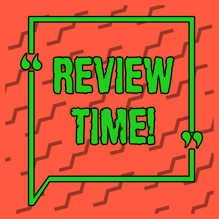Writing note showing Review Time. Business concept for survey over whole subject or division it Summary of something Two Tone Orange Broken Jagged Lines Alternately in Slanting Position
