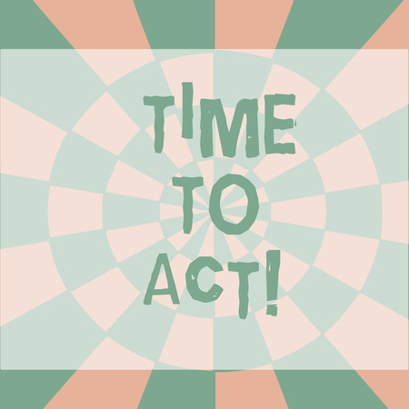 Text sign showing Time To Act. Business photo showcasing this is right moment to take action or do something good Seamless Circles in Yellow on Violet Surface Flat Style Geometrical Pattern Archivio Fotografico
