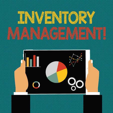 Writing note showing Inventory Management. Business concept for supervision of non capitalized assets and stock items Hands Holding Tablet with Search Engine Optimization on the Screen