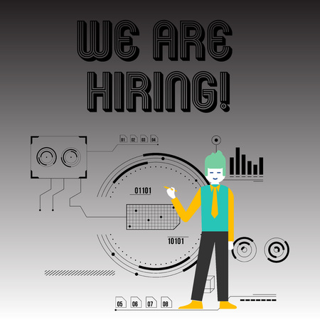 Handwriting text writing We Are Hiring. Conceptual photo recently employ someone or pay him to do particular job Man Standing Holding Pen Pointing to Chart Diagram with SEO Process Icons