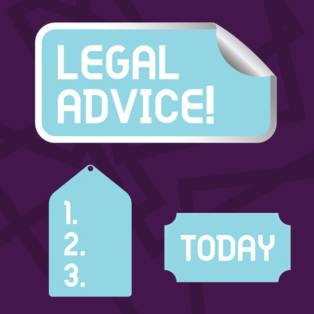 Text sign showing Legal Advice. Business photo showcasing professional advices that is provided by professional lawyer Blank Color Label, Self Adhesive Sticker with Border, Bended Corner and Tag