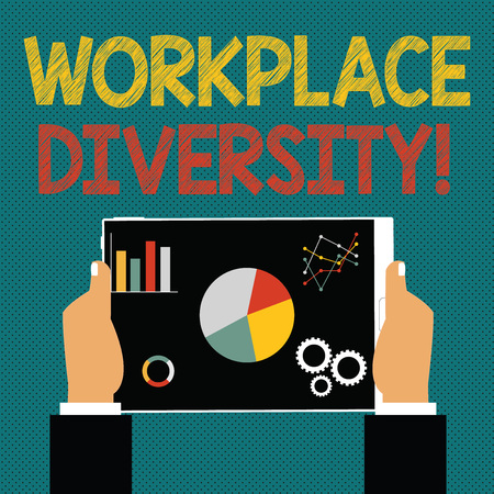 Writing note showing Workplace Diversity. Business concept for include race gender religion and sexual orientation Hands Holding Tablet with Search Engine Optimization on the Screen Stock Photo