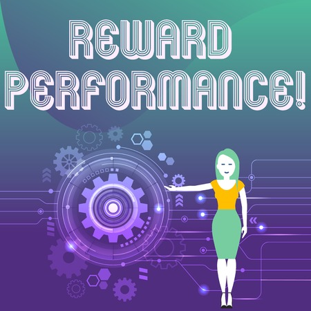 Word writing text Reward Performance. Business photo showcasing something given in return for good done or received Woman Standing and Presenting the SEO Process with Cog Wheel Gear inside 版權商用圖片