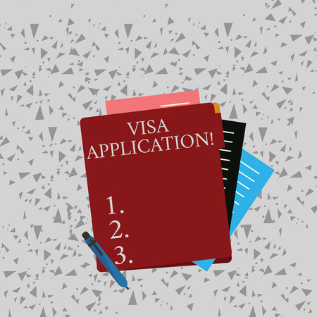 Word writing text Visa Application. Business photo showcasing conditional authorization granted by country to foreigner Colorful Lined Paper Stationery Partly into View from Pastel Blank Folder