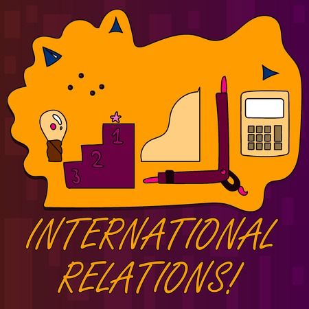 Handwriting text writing International Relations. Conceptual photo way in which two or more nations interact with Set of Professional Goal Icons for Planning, Advancement and Recognition
