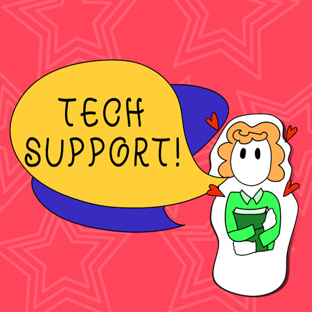 Conceptual hand writing showing Tech Support. Concept meaning service by hardware or software which help and advice products Girl Holding Book with Hearts Around her and Speech Bubble 免版税图像