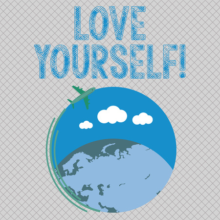 Conceptual hand writing showing Love Yourself. Concept meaning have self respect positive image and unconditional acceptance Airplane Flying Around Colorful Globe and Blank Text Space