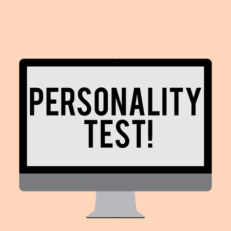 Word writing text Personality Test. Business photo showcasing method used assessing huanalysis demonstratingality constructs Blank White Computer Monitor WideScreen Mounted on a Stand for Technology