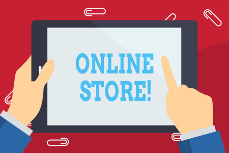 Writing note showing Online Store. Business concept for website by means of which goods or services sold over Internet Businessman Hand Holding and Pointing Colorful Tablet Screen