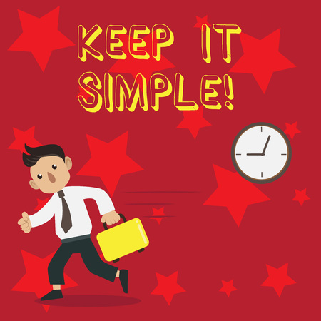Conceptual hand writing showing Keep It Simple. Concept meaning ask something easy understand not go into too much detail Man Carrying Briefcase Walking Past the Analog Wall Clock Stok Fotoğraf