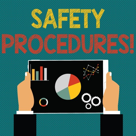 Writing note showing Safety Procedures. Business concept for steps description of process when deviation may cause loss Hands Holding Tablet with Search Engine Optimization on the Screen Stock Photo