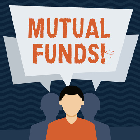 Handwriting text Mutual Funds. Conceptual photo investment funded shareholders trades in diversified holdings Faceless Man has Two Shadows Each has Their Own Speech Bubble Overlapping