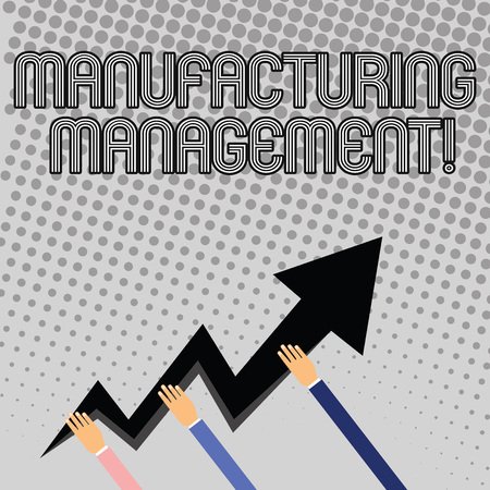 Handwriting text writing manufacturing management. Conceptual photo case studies representing strategies Three Hands Holding Colorful Zigzag Lightning Arrow Pointing and Going Up