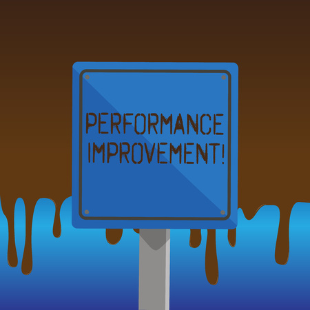 Text sign showing Performance Improvement. Business photo showcasing Improve Productivity Enhance Quality input Time 3D Square Blank Colorful Caution Road Sign with Black Border Mounted on Wood 版權商用圖片
