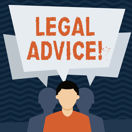 Handwriting text Legal Advice. Conceptual photo professional advices that is provided by professional lawyer Faceless Man has Two Shadows Each has Their Own Speech Bubble Overlapping