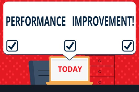 Handwriting text Performance Improvement. Conceptual photo Improve Productivity Enhance Quality input Time Blank Huge Speech Bubble Pointing to White Laptop Screen in Workspace Idea