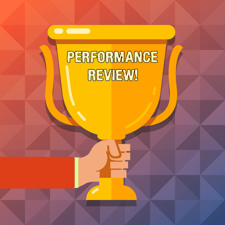 Word writing text Performance Review. Business photo showcasing employees work habits undertaken fixed point in time Hand Holding Blank Golden Championship Winners Cup Trophy with Reflection