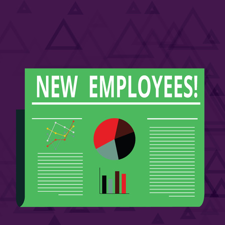 Handwriting text New Employees. Conceptual photo individual who was hired by employer to do specific job Colorful Layout Design Plan of Text Line, Bar, Linear and Pie Chart Diagram Banco de Imagens