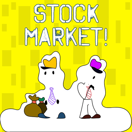 Handwriting text writing Stock Market. Conceptual photo collection markets exchanges where activities of buying selling Figure of Two Men Standing with Pouch Bag on White Sticker Style Snow Effect