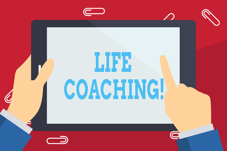 Writing note showing Life Coaching. Business concept for demonstrating employed to help showing attain their goals in career Businessman Hand Holding and Pointing Colorful Tablet Screen Stock Photo