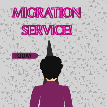 Word writing text Migration Service. Business photo showcasing shift different cloud vendors without implementation Man Facing the Distance Ahead and Blocking the View of Straight Narrow Path