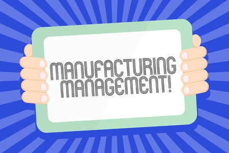 Text sign showing manufacturing management. Business photo text case studies representing strategies Color Tablet Smartphone with Blank Screen Handheld from the Back of Gadget 版權商用圖片