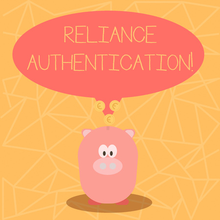 Conceptual hand writing showing Reliance Authentication. Concept meaning part of trust based identity attribution process Speech Bubble with Coins on its Tail Pointing to Piggy Bank 版權商用圖片
