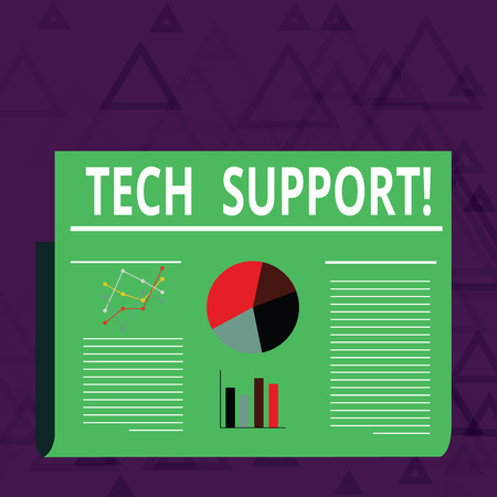 Handwriting text Tech Support. Conceptual photo service by hardware or software which help and advice products Colorful Layout Design Plan of Text Line, Bar, Linear and Pie Chart Diagram