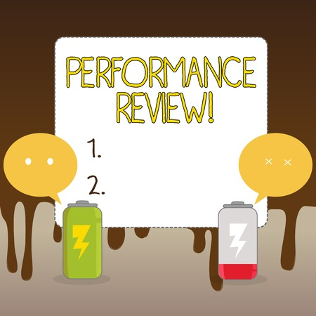 Handwriting text Performance Review. Conceptual photo employees work habits undertaken fixed point in time Fully Charged and Discharged Battery with Two Colorful Emoji Speech Bubble 版權商用圖片