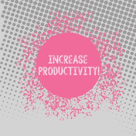 Text sign showing Increase Productivity. Business photo text Improve the efficiency of production processes Disarrayed and Jumbled Musical Notes Icon Surrounding Blank Colorful Circle Stok Fotoğraf