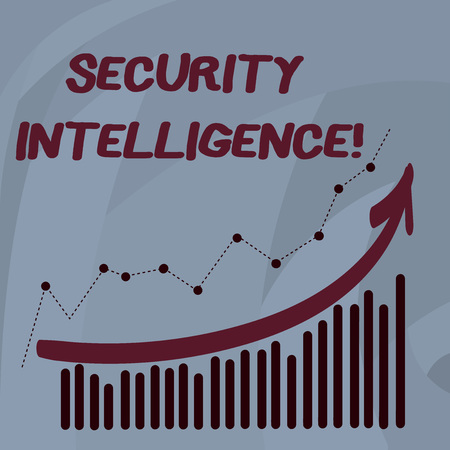 Handwriting text Security Intelligence. Conceptual photo protecting an organization from threats and risks Combination of Colorful Column and Line Graphic Chart with Arrow Going Up Stock fotó