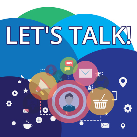 Writing note showing Let S Talk. Business concept for they are suggesting beginning conversation on specific topic photo of Digital Marketing Campaign Icons and Elements for Ecommerce