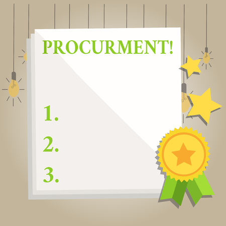 Writing note showing Procurment. Business concept for action of acquiring military equipment and supplies White Sheet of Parchment Paper with Ribbon Seal Stamp Label Reklamní fotografie