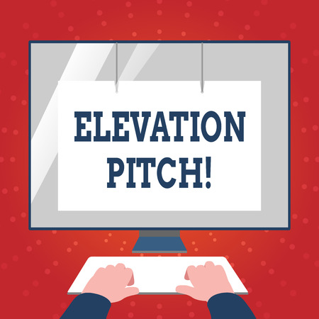Writing note showing Elevator Pitch. Business concept for short description of product business idea given to investor Hands on Keyboard Front White Monitor with Screen Protector