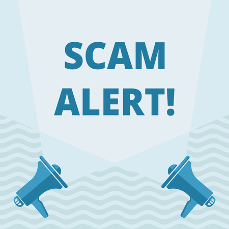 Handwriting text writing Scam Alert. Conceptual photo fraudulently obtain money from victim by persuading him Blank Double Spotlight Crisscrossing Upward from Two Megaphones on the Floor
