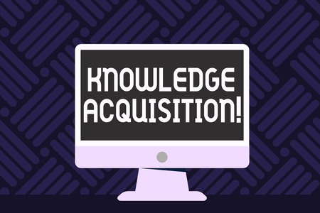 Writing note showing Knowledge Acquisition. Business concept for process of extracting knowledge from one source Desktop Computer Colorful Monitor Screen Freestanding Table Banco de Imagens