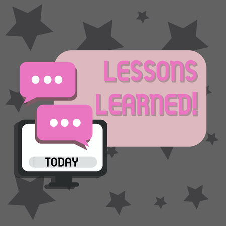 Writing note showing Lessons Learned. Business concept for learning gained from process of performing project Monitor and Two Speech Balloon with Three Dots for Chat Icon