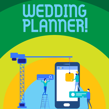Conceptual hand writing showing Wedding Planner. Concept meaning professional who assists with design planning and analysisagement Staff Working Together for Target Goal with SEO Process Icons