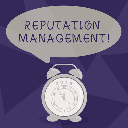 Writing note showing Reputation Management. Business concept for Influencing and controlling of ones reputation Speech Balloon Pastel Shade and Colorful Analog Alarm Clock